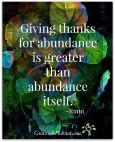 Be grateful for your abundance