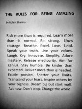 Rules of being amazing