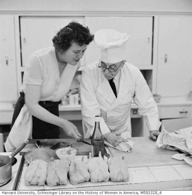 Julia Child at Le Cordon Bleu's kitchen