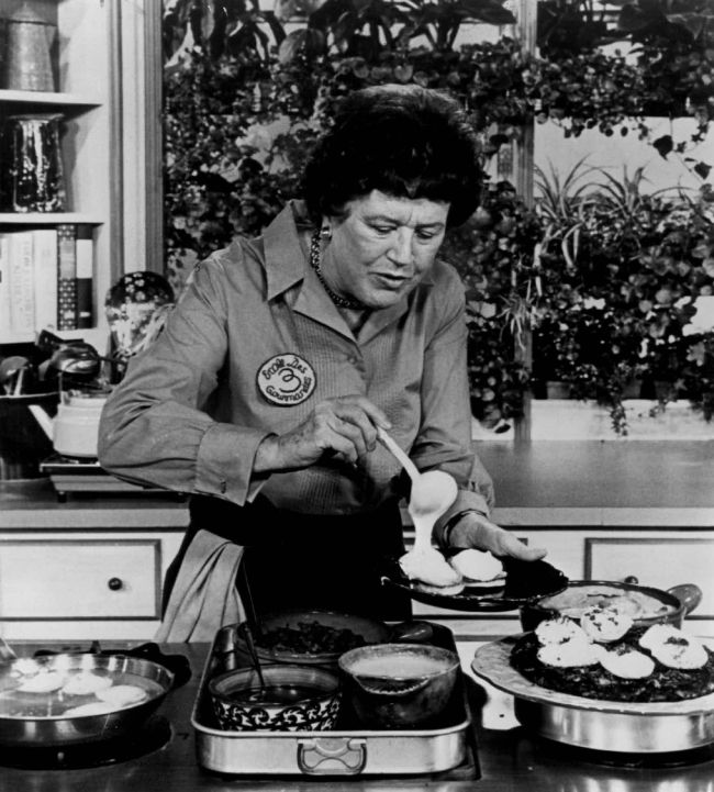 Julia Child whipping up a storm on camera